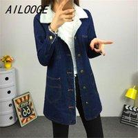 Ailooge 2020 Uzun Denim Ceket Ceket Boy Dış Giyim Palto Lambswool Faux Kürk Sıcak Uzun Kot Temel Ceket Coats1