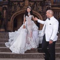 2020 Luxuriöse Strass Kristall Brautkleider High Neck Perlen Applique Lange Ärmel Meerjungfrau Brautkleid Dubai Hochzeitskleid Overkirt
