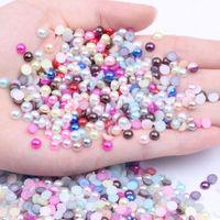 Kleber auf halb runden perlen für nails kunst dekorationen 5000 stücke 5mm nachahmung flatback kleber auf harzperlenfarben