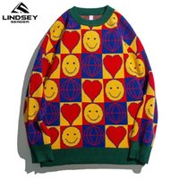 Lindsey seader mens suemers xadrez quadrado grade sorriso rosto corações harajuku hip hop hop streetwear roupas pulôver pares camisolas 201116
