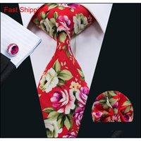 빨간 넥타이는 남성을위한 넥타이 세트 꽃 면화 넥타이 넥타이 Hankerchief Cufflinks 정식 비즈니스를 세트 Qylaee Nana_Shop