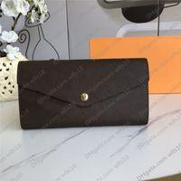 Mujer billetera moda solo cremallera pocke hombres mujeres cuero billetera señora damas billetera monedero largo monedero con caja naranja m60531 / 60668 lb123