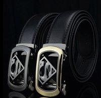 KWD 2019 Nuevo diseñador de lujo Superman Cinturón Automático Cinturón Automático Cinturón de cuero genuino para hombres Ceinture Male Riem J1209