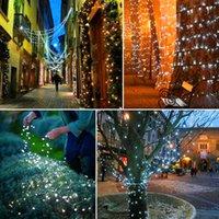 Скидка белый 100 светодиодных солнечных струн сказочная светлая рождественская вечеринка водонепроницаемая высокая яркость праздник светодиодные струны