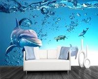 3d الحيوان خلفيات 3d الرئيسية خلفيات الأزرق المحيط دولفين خلفية جدار بريميوم الغلاف الجوي الديكور الداخلي 3d