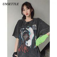 Негабаритные рубашки Harajuku t Негабаритные Летние Мужчины / Женщины Хип-хоп Мода Готический Привод Грустная футболка Streetwear T-рубашки с коротким рукавом1