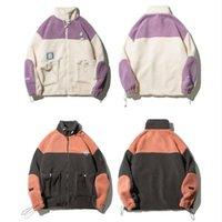 Зимние флисовые куртки цветной блок пэчворк молния густые теплые пальто уличные мужские мужские хип-хоп повседневная вершины