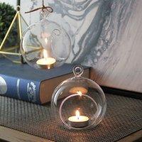 8cm verre cristal suspendu bougeoir bougie de chandelier maison mariage fête dîner décor rond verre plante vase boule de cristal bulle