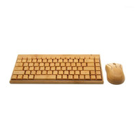 4G Bamboo Wireless Keyboard And Mouse Combo Natural Wood Han...