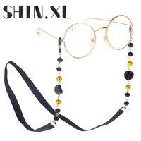 70 cm Cristal negro Gafas de cuentas Cadenas Moda Mujeres Hombres Accesorios Accesorios Gafas de sol Cuerda de correa de cordón