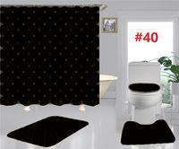 Padrão clássico letra de chuveiro cortina set vaso sanitário assento tampa de toalete esteira de piso banheiro