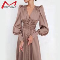 Односнабженное сексуальное платье-платье Clud High талия атлас длинное платье Элегантные V-образные женские Женщины MIDI Платья Фонарь Рукав