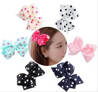 """2 style available !Large knot bow! big 6"""" Boutique Grosgrain Ribbon Hair Bow Dots Hair Bows With Clip Girl's Hair Accessories 30pcs/"""