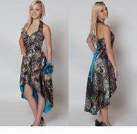 Camo hi lo bridemaid kleider kurze vorne lange zurück hochzeit party dress camouflage maid ehrenkleid halfter hochzeit gastkleid