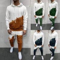 Autunno Mens Sportswear Sets 2 pezzi Pocket Felpa Pantaloni Top Sets Sports Suit Tracksuit per uomo