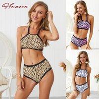 Frauen Badebekleidung 2021 Sexy Halfter Tankini Frauen Hohe Taille Bottom Leopard Druck Serpentinen Schlange Vintage Badeanzug Weibliche Badeanzug