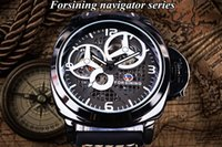 Vendedor caliente Forsining Full Black Skeleton Case Windmill Designer Suede Strap Watch Militares Hombres Mira Top Marca Luxury Automatic Wrk Watch