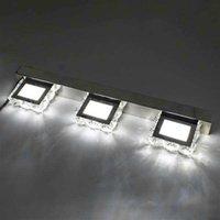 Design più nuovo 9W ZC001209 Tre luci Superficie di cristallo Bagno Bedroom Lamp Lampada da letto Warm White Light Silver Super Luminosità impermeabile Lampade da parete impermeabili