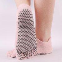 Frauen Anti-Slip Yoga Socken Fitness Pilates Training Finger Socken Fünfzehen Sport Hochwertiger Baumwollsockel Slipper 2 Paare1