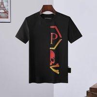 Llano Camiseta de manga corta europea y americana camiseta PP de la llama de los hombres de la letra del diamante caliente Tendencia de la mitad Manga italiana camiseta Phillip