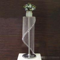 웨딩 장식 크리스탈 클리어 아크릴 테이블 중앙에있는 장식물 금속 꽃 볼 꽃병 이벤트 파티 크리스마스 장식