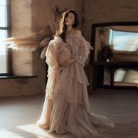 Chic Tulle Abito maternità per la fotografia fuori spalla sexy Robe Gorgeous Donne incinte Foto Shoot Abiti personalizzati