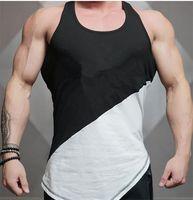 Мужская танка жилет хлопчатобумажная спортивная короткая верхняя мышечная мужчина без рукавов O-образным вырезом жилет атлетический танк бесплатная доставка