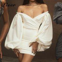 Günlük Elbiseler Liser 2021 Yaz Kadın Elbise Uzun Kollu V Boyun Beyaz Mini Seksi Bodycon Zarif Kulübü Ünlü Parti Vestido