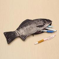 Carpa caneta saco realista peixe forma maquiagem caixa de lápis de maquilhagem com zíper caneta bolsa presente casual higiênico lavar bolsa engraçada # t5p