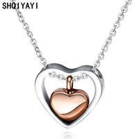 Shqiyayi Parfüm Flasche Herz Anhänger Halskette für Frauen Edelstahl Braut Hochzeitsfest Schmuck Jubiläumsgeschenke O1516