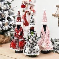 زجاجة عيد الميلاد زجاجة زجاجة المئزر مجموعة تصميم مهرجان عيد النبيذ الأحمر زجاجة غطاء الجدول النبيذ زجاجة اللباس الدعائم GGB3290