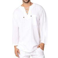 Missky homens verão primavera camisa cor sólida lacing algodão linho manga longa v neck camisa solta roupas masculinas