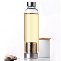 Garrafa de água de vidro resistente de alta temperatura de vidro esporte garrafa de água com filtro de chá infuser garrafa de nylon manga marinha marinha oob67-2