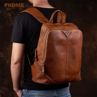 Hbp pndme moda vintage de couro genuíno rebite designer masculina mochila casual viajar natural real couro laptop bagpack q1118
