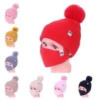 Bebek Çocuk Kış Sıcak Beanies Kayak Açık Kızlar Örme Beanie Kap Şapka Yüz Maskesi Ile 2 Parça Set Bisiklet Spor Slouchy Şapkalar E112306