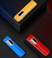 12 Stili all'ingrosso USB Accendini ricaricabili ad accendisigari elettronico accendisigari senza fiamma touch screen interruttore colorato accendino antivento 9988