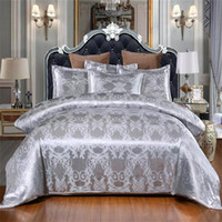 Sliver Gold Luxury Seta Silk Satin Jacquard Cover Duvet Biancheria da letto Set da letto US Queen King Size 3 Pz Set da letto