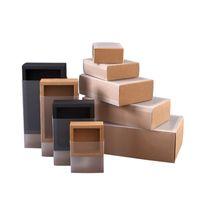 Buzlu PVC Kapak Kraft Kağıt Çekmece Kutuları DIY Kağıt Hediye Kutusu Düğün Parti Hediye Paketleme Için