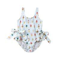 2020 Yepyeni Toddler Çocuk Bebek Kız Mayo Dondurma Yay Bikini Mayo Büyük Ilmek Yüzme Giysileri Mayo 6m-5t
