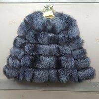 Новый бренд истинный натуральный серебряный пушистый меховой полосатый жилет куртка леди кожаная куртка или серебряный парусник