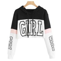 Femme Girl Imprimer Pull à capuche à capuche à capuche à capuche à manches longues Sweat-shirt Casual Crop Top