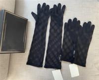 Vintage Tül Dantel Eldiven Bayan Tam Harfler İşlemeli Mitten Yaz Sonbahar Ince Siyah Eldiven Düğün Parti Sürüş Parmaklar Mittens