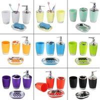Conjunto de acessórios de banho 4 pçs / conjunto de banheiro terno plástico shampoo imprensa garrafa de garrafa gargarejo copo de dentes titular de escova de dentes Soap prato acessórios RT99