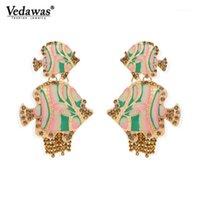 Cuelga Chandelier Vedawas Metal Piedra semi-preciosa Pisces Forma Bohemio Mujer Colgante Pendientes 2021 Compras Serie Marina de las Mujeres