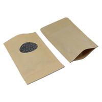100 adetgrup Reclosable Kahverengi Kraft Kağıt Zip Kilidi Doypack Çanta Gıda Bakkal Fermuar Kılıfı Kahve Somunları Kuru Flowey Depolama Paketi Çanta H SQCPWP