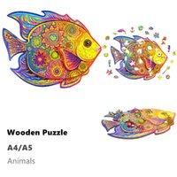 Море доставка Деревянные головоломки головоломки животных формы головоломки лучший подарок для взрослых и детей, вдохновляющие деревянные головоломки игрушки A4