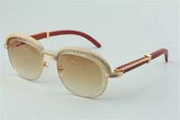 Best-seller Sunglasses de lente de corte de madeira natural de alta qualidade, diamantes high-end quadro de sobrancelha 1116728-A Tamanho: 60-18-140mm