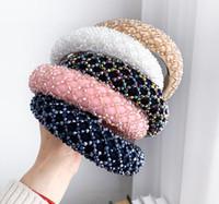 여자를위한 다채로운 크리스탈 머리띠 럭셔리 손을 만든 크리스탈 페르시 스폰지 헤어 밴드 신부 결혼식 파티 머리띠
