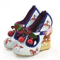 Fawn New Beautiful Bombas Handcrafted Cherry Ladies embelezados Animal-Like com saltos altos e sapatos de casamento Lolita FAPW