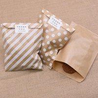 25 / 50pcs Kraft Paper-cadeau Sacs-cadeaux Vague Stripe Stripe Sacs Cookie Sacs Emballage Pochette Festival Festival de mariage Emballage Fournitures1